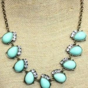 J. Crew turquoise teardrop necklace rhinestone